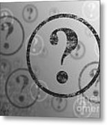 Question Mark Background Bw Metal Print