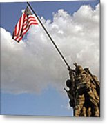 Raising The American Flag Metal Print