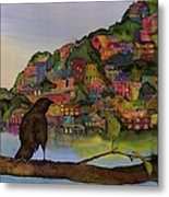 Raven And The Village  Metal Print by Carolyn Doe