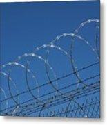 Razor Wire Fence In Las Vegas Metal Print