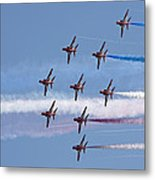 Red Arrows Flying In Formation Metal Print