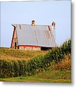 Red Barn Corn Field Metal Print