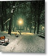 Red Bench In The Park Metal Print