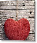 Red Burlap Heart On Vintage Table Metal Print