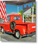 Red Dodge Pickup Truck Parked In Front Metal Print