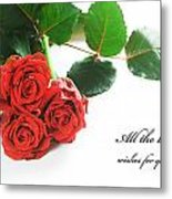 Red Fresh Roses On White Metal Print