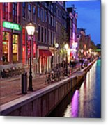 Red Light District In Amsterdam Metal Print