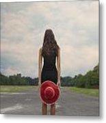 Red Sun Hat Metal Print