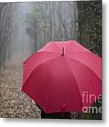 Red Umbrella In The Forest Metal Print