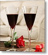 Red Wine And Roses Metal Print