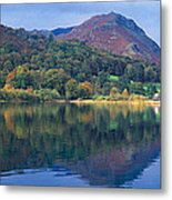 Reflection Of Hills In A Lake Metal Print