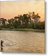 Reid Sabin Fly Fishing At Sunrise Metal Print