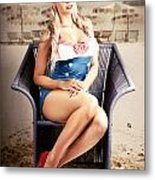 Retro Blond Beach Pinup Model With Elegant Look Metal Print