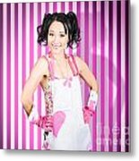 Retro Cleaning Service Maid With Smile Metal Print