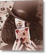 Retro Magician Holding Burnt Playing Card Metal Print