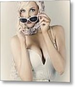 Retro Pin-up Girl In Classic Fashion Style Metal Print