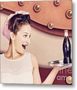 Retro Pinup Girl Holding Food And Drinks Tray Metal Print