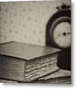 Retro Setting And Effect Of Antique Vintage Books Metal Print