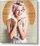 Retro Woman At Beauty Salon Getting New Hair Style Metal Print