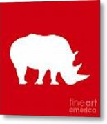 Rhino In Red And White Metal Print