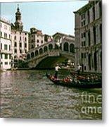 Rialto Bridge In The Grand Canal Metal Print