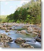 River Flowing Through Rocks, Black Metal Print