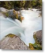 River Rapids Washing Over Rocks With Silky Look Metal Print