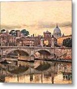 River Tiber In Rome Metal Print
