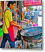 Roasting Chestnuts In China Town In Bangkok-thailand  Metal Print