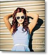 Rockabilly Greaser Pin-up. 50s Drive-in Culture Metal Print