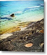 Rocks And Clear Water Abstract Metal Print