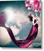 Romantic Girl In Love With Beauty And Fashion Metal Print