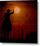 Ropin' The Moon Metal Print