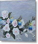 Roses And Candlelight Metal Print