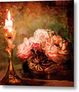 Roses By Candlelight Metal Print