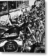 Row Of Harley Davidson Motorbikes Including Sportster Outside Motorcycle Dealership Orlando Florida  Metal Print