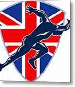 Runner Sprinter Start British Flag Shield Metal Print