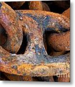 Rusty Steel Chain Detail Metal Print