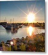Sailboat Pier In Lake Michigan Nature Scenary Near Racine Wisconsin Metal Print