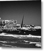 Salou Waterfront Properties And The Els Pilons Sculpture On The Costa Dorada Catalonia Spain Metal Print