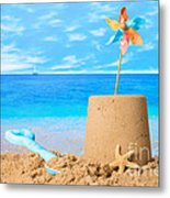 Sandcastle On Beach Metal Print