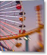 Santa Monica Pier Ferris Wheel And Roller Coaster At Dusk Metal Print