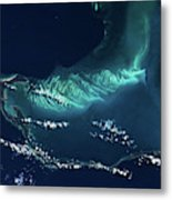 Satellite View Of Turks And Caicos Metal Print