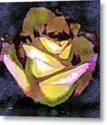 Scanned Rose Water Color Digital Photogram Metal Print