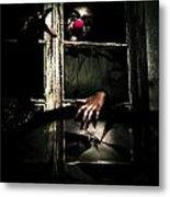 Scary Clown Clawing Window Metal Print