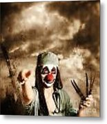 Scary Clown Doctor Throwing Knives Outdoors Metal Print