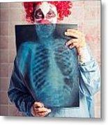 Scary Clown Peeking Behind X-ray. Funny Bones Metal Print
