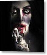 Scary Vampire Woman. Bloody Halloween Horror Metal Print