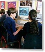 Schoolchildren Working Metal Print