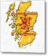 Scotland Painted Flag Map Metal Print